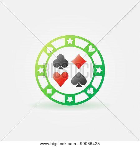 Casino green chip vector icon