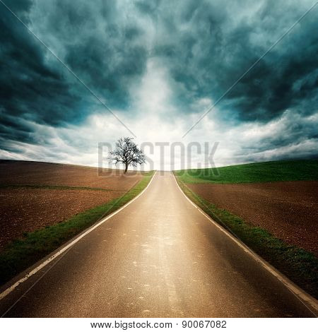 Lonely Road With Dramatic Mood