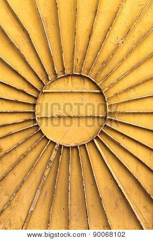 Metal Radial Sun On Orange