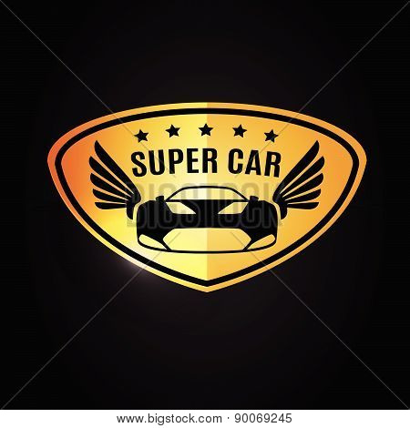 Sports car Vehicle Silhouette and wings logo vector design