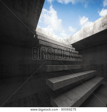 Flying Stairway To Heaven, Abstract Empty Interior