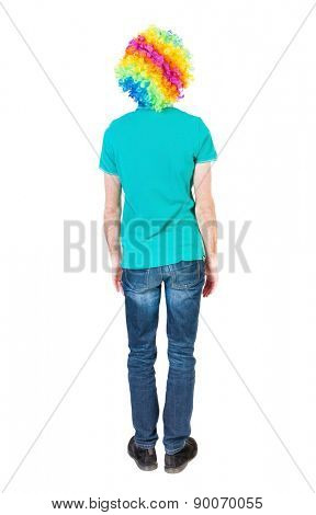Back view of man in clown wig. Standing young guy. Rear view people collection.  backside view of person.  Isolated over white background.