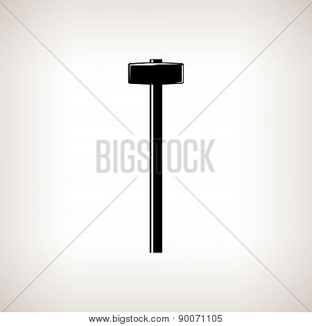 Silhouette sledgehammer on a light background