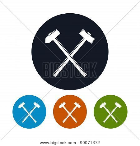 Icon of a Crossed Hammer and Sledgehammer