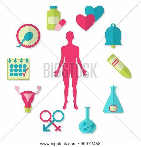 Vector set of fertility icons isolated on white background