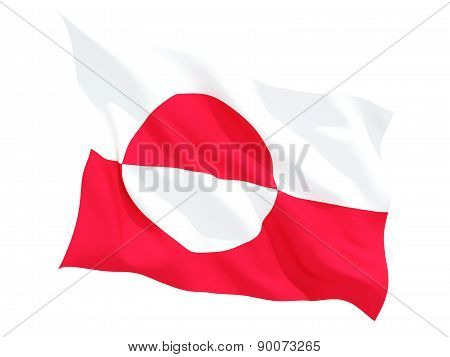 Waving Flag Of Greenland