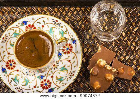 Turkish Coffee and chocolate water
