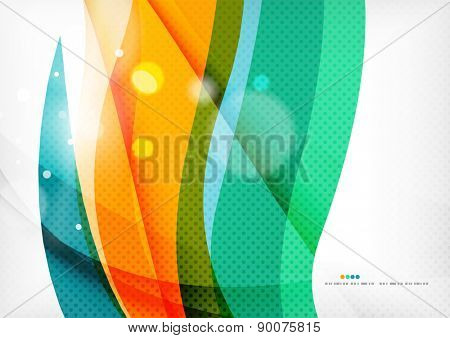 Green orange yellow colors shiny line concept. Graphic message board