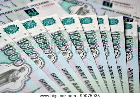 Heap of russian rouble banknotes