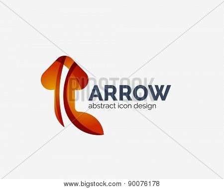 Clean modem wave design arrow company logo, business icon made of overlapping elements