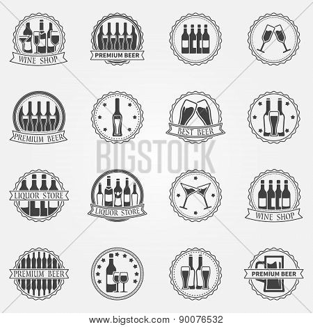 Wine and beer vector labels