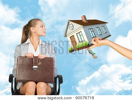 Businesswoman sitting in the chair