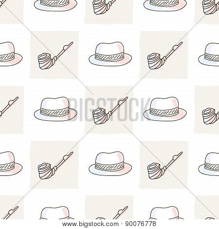 Hipster seamless pattern with hat and tobacco pipe
