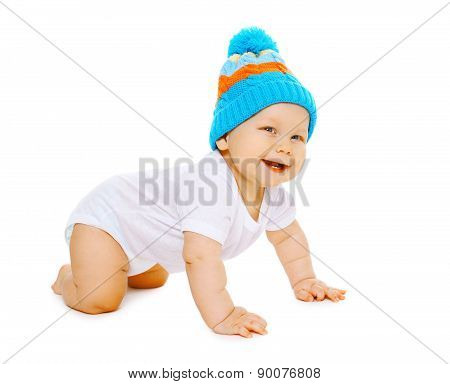 Laughing Positive Little Baby Crawls In The Knitted Hat