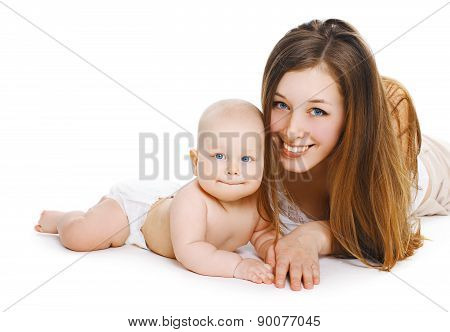 Portrait Of Young Smiling Mom And Sweet Baby Together