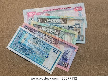 Currency from Gulf countries - UAE Dirham, Kuwaiti Dinar, Omani riyal.