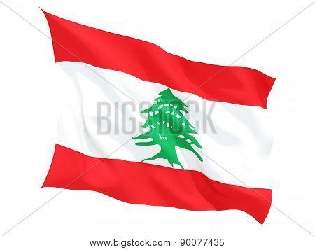 Waving Flag Of Lebanon