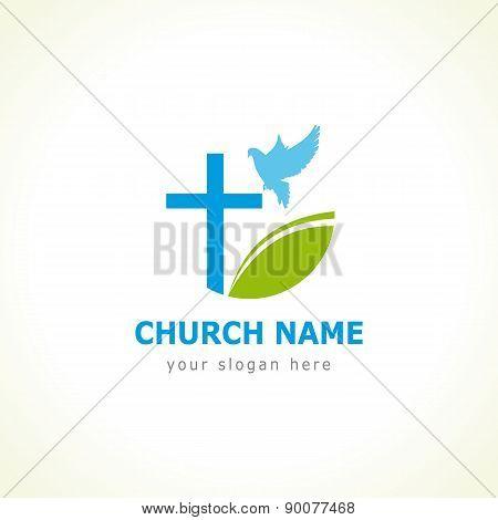 Dove cross green leaf church logo
