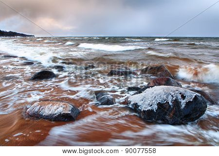 Autumn Storm In The Baltic Sea To The Red Sand