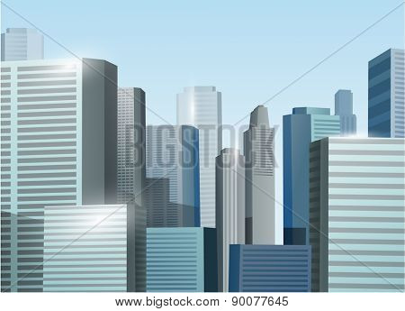 Sunrise cityscape vector stock illustration background