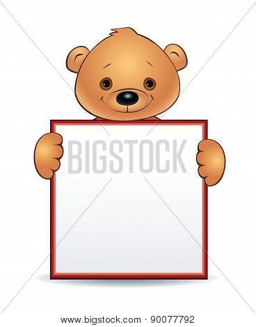 Bear Holding A Blank Sign