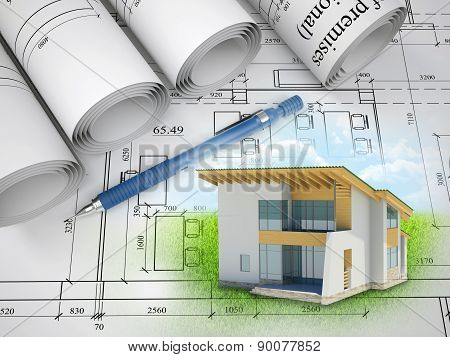 House on abstract background