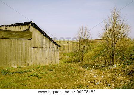 Retro barn somewhere in the Russian village