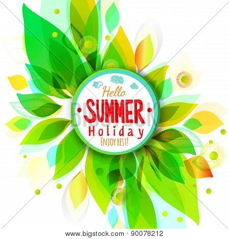 Summer Holidays Background With Circle Sticker