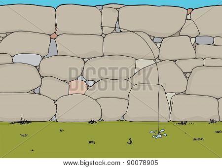 Stone Dam With Single Leak