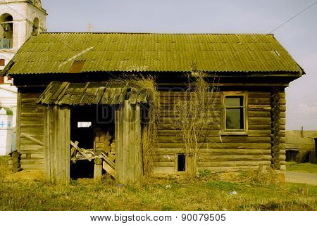 Porch of the empty wooden house in Russian village