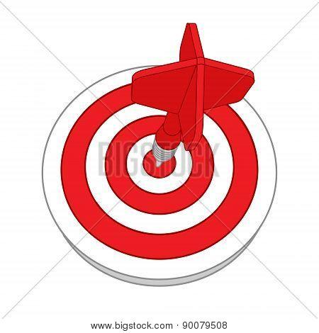 Red darts target aim. Successful shoot.