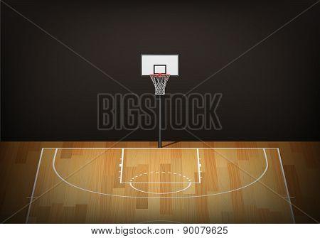 Basketball Hoop On Empty Wooden Court