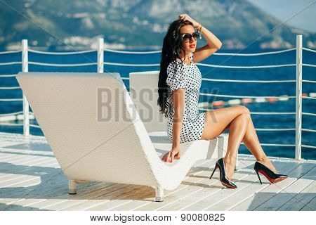 Fashion Luxury Lady Model On Beach Chill Out