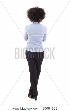 Back View Of Happy African American Business Woman Isolated On White