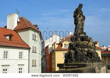 St. Vitus Statue Of Charles Bridge In Prague, Czech Republic.