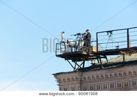 MOSCOW - MAY 7: Snipers secure area of last rehearsal of the military parade dedicated to the 70th anniversary of the victory in the Second World War in Red Square on May 7, 2015 in Moscow