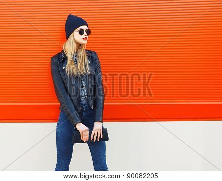 Fashion Portrait Of Stylish Blonde Girl In Rock Black Style, Wearing A Sunglasses And Leather Jacket