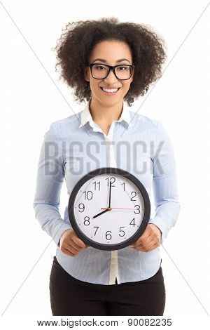 Beautiful African American Woman With Office Clock Isolated On White