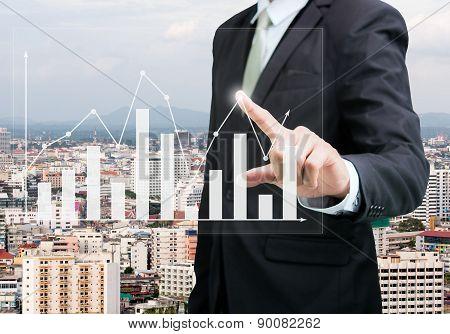 Businessman Standing Posture Hand Touch Graph Finance