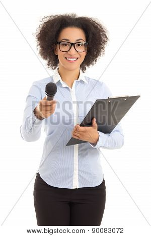 African American Female Journalist With Microphone Taking Interview Isolated On White