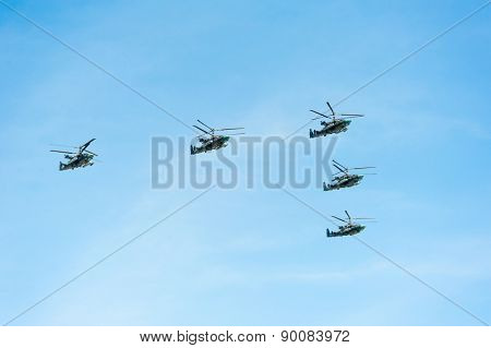 MOSCOW - MAY 7: Helicopters participate at last rehearsal of the parade dedicated to the 70th anniversary of the victory in the Second World War in Red Square on May 7, 2015 in Moscow