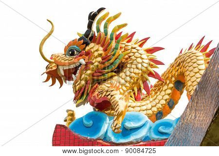 Dragon Statue On Temple Roof On Isolated Background