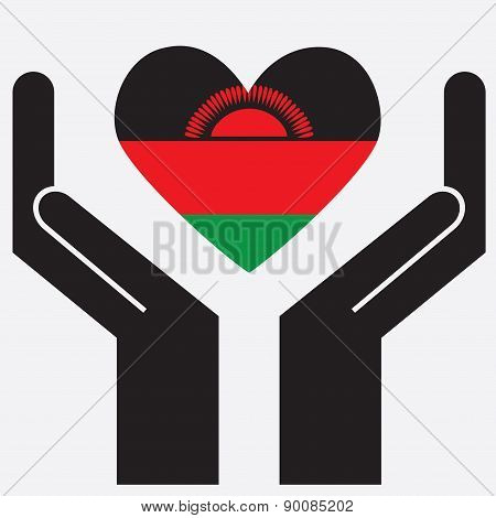 Hand showing Malawi flag in a heart shape.