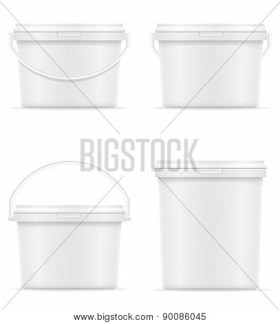 White Plastic Bucket For Paint Vector Illustration