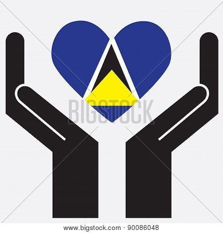 Hand showing Saint Lucia flag in a heart shape.