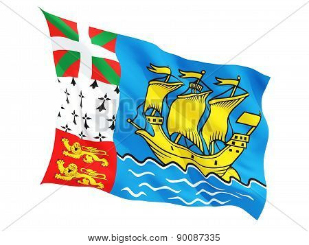 Waving Flag Of Saint Pierre And Miquelon