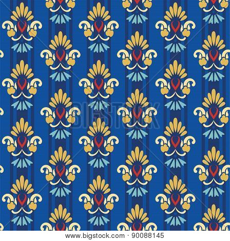 Floral Gold Pattern On A Blue...
