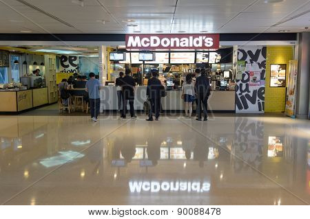 HONG KONG - MAY 05, 2015: McDonald's restaurant interior. The McDonald's Corporation is the world's largest chain of hamburger fast food restaurants, serving around 68 million customers daily