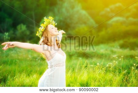 Happy Woman In Wreath  Summer Enjoying Life Opening Hands