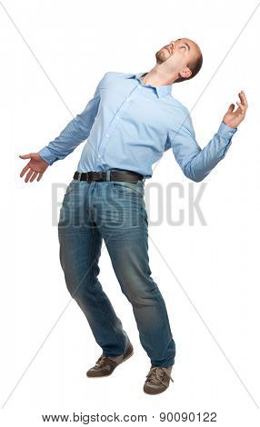 man with no balance isolated on white